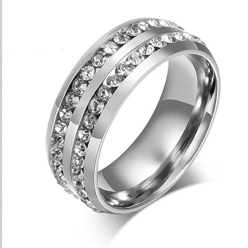 2.18 carat Double Row Moissanite Eternity Wedding Band Men and Women