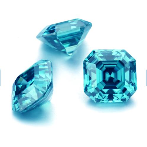 Premium Aquamarine Blue Asscher Cut Moissanite Loose