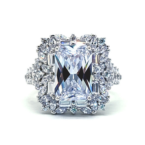 3.69ct DEW Emerald Cut Moissanite Willow Engagement Ring