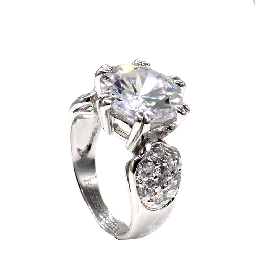Round Brilliant Cut Moissanite with Micropave Cluster Ring Sample