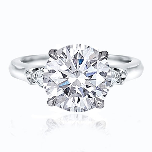 3.38ct Round Brilliant Cut Moissanite Engagement Ring with Trillion Side Stones