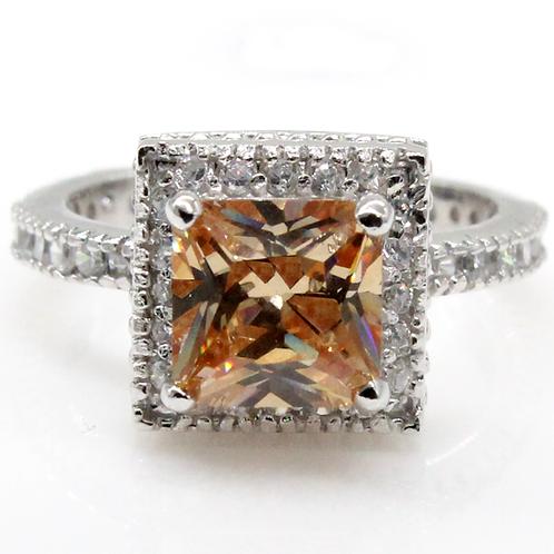 1 carat Halo Set Princess Cut Champagne Moissanite Engagement Ring