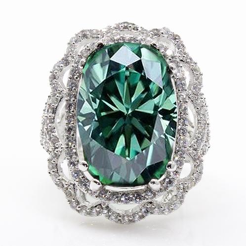Vintage Elongated Cushion Cut Green Moissanite Engagement Ring Sample