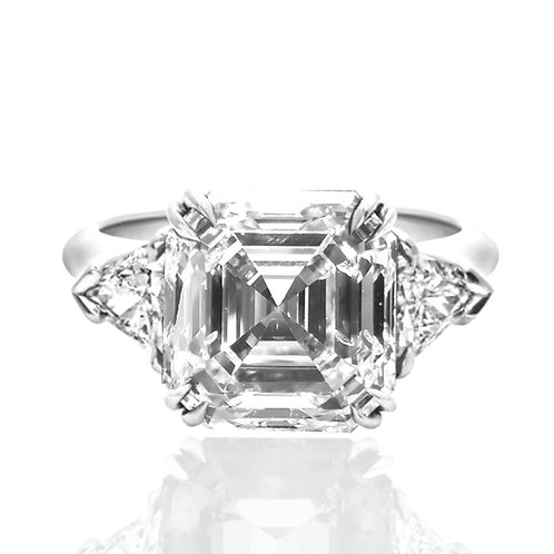 5.41ct DEW Asscher Cut 3-Stone Engagement Ring with Trillion Side Stones
