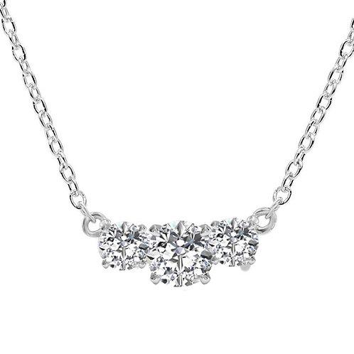 8ct DEW Three-Stone Diamond Moissanite Pendant and Chain 14k White Gold