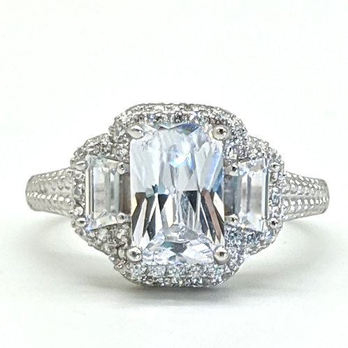 Vintage Radiant Cut Halo Engagement Ring Sample
