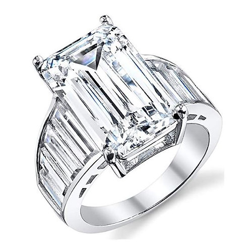 18.08ct DEW Emerald Cut & Tapered Baguette Accent stones Engagement Ring