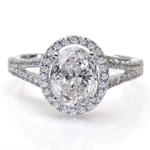 1 carat Oval Cut Halo Set Moissanite Engagement Ring with Split Shank