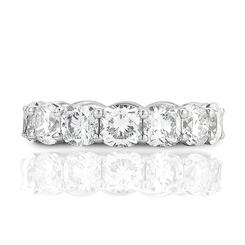 8.02 carat Cushion Cut Moissanite Eternity Wedding Band in Solid 14k White Gold
