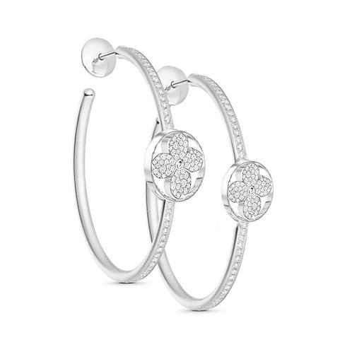 Gienah Single Bloom Hoop Moissanite Earrings