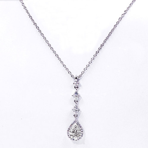 1.68ct DEW Moissanite Pear Cut Drop Pendant Set in .925 Solid Sterling Silver