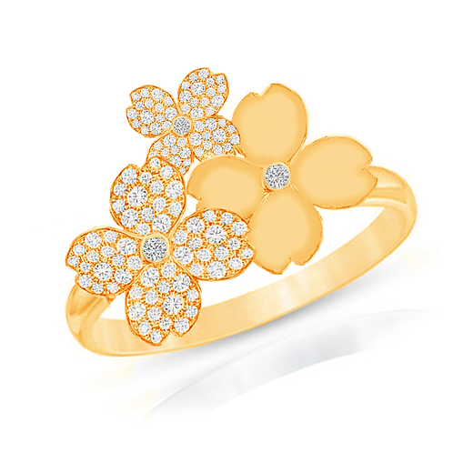Gienah Cluster Blooms Single Band Moissanite Statement Ring