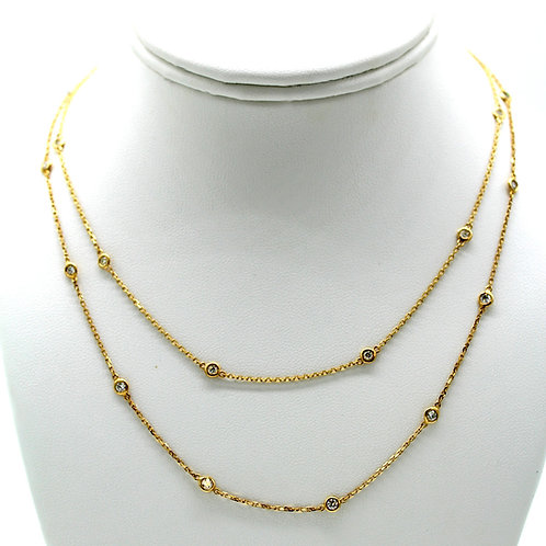 1ct Bezel Set Moissanite Layered Necklace in Solid 14k Yellow Gold