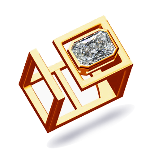 Faye Square Statement Ring 2.50ct Radiant cut Moissanite EF/VVS1