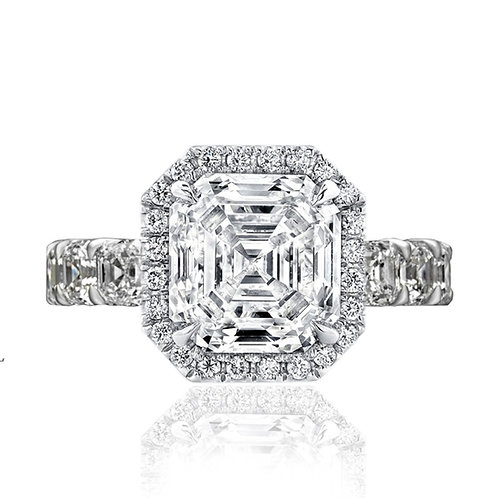 3.60 carat  Moissanite Asscher Cut Halo Engagement Ring with Eternity Band