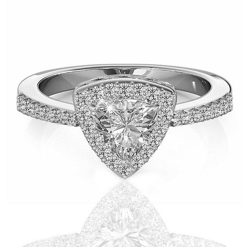 3.05 carat Trillion Cut Halo set, Semi-Eternity Band Moissanite  Engagement Ring