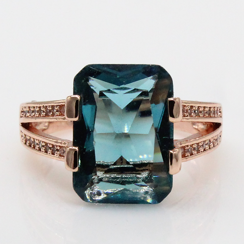 1 carat Radiant Cut Blue Green Moissanite Engagement Ring with Micropave Shank