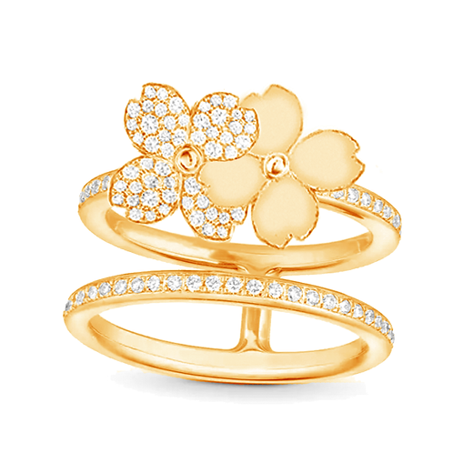 Gienah Twin Blooms with Double Band Statement Ring