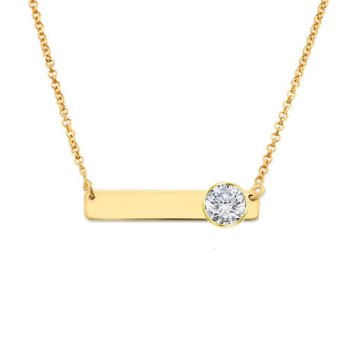 Cygni Engravable Horizontal Bar 1 carat Moissanite Necklace