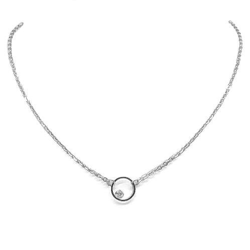 Cygni Engravable Open Circle Moissanite Necklace