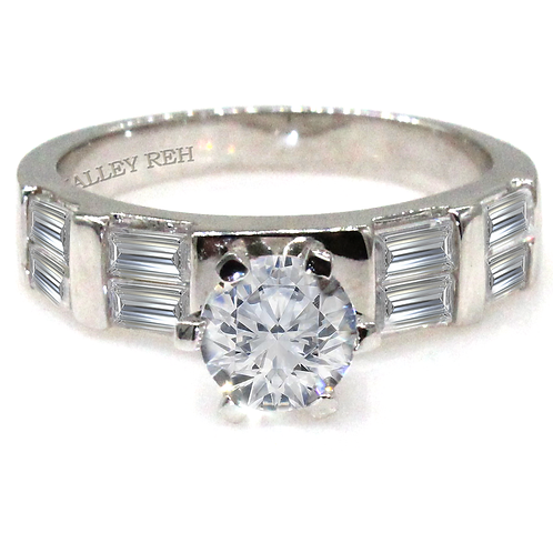 1 carat Round Brilliant Cut Moissanite Engagement with Baguette Accent Stones