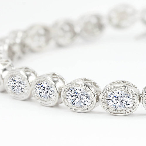 25 carat Halley Reh Oval Cut Tennis Bracelet in Solid 14k White Gold