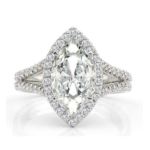4.15 carat Marquise Cut Halo Set with Split Shank Moissanite Engagement Ring