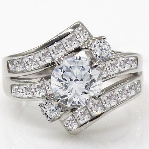 Unique Swirl Round Brilliant Cut Moissanite Engagement Ring Sample