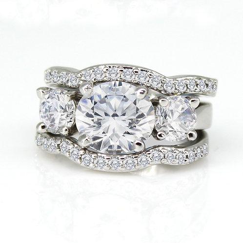 Moissanite Diamond 3-Stone Engagement and Wedding Band Combo Set