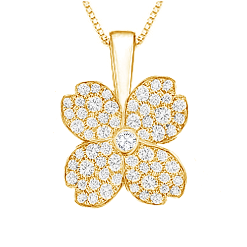 Gienah Studded Solitary Bloom Moissanite Pendant with Box Chain