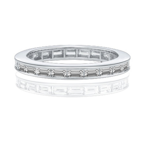 1.10 carat Channel Set Baguette Eternity Wedding Band in 14k Solid White Gold