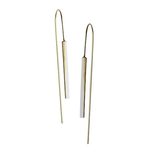 14kt Yellow Gold Vertical Bar Dangle Earrings