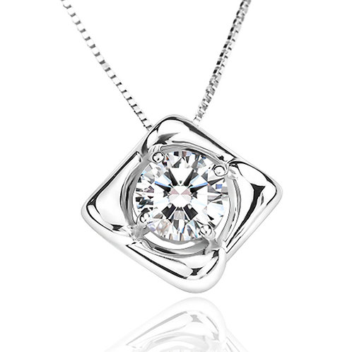 1.15ct DEW Moissanite Square Pendant Set in .925 Solid Sterling Silver