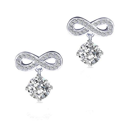 1.50ct DEW Moissanite Infinity Drop Earrings Set in .925 Solid Sterling Silve