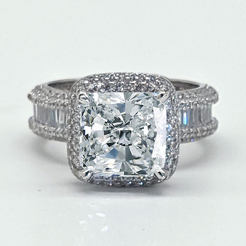 Vintage Princess Cut Halo Engagement Ring Sample