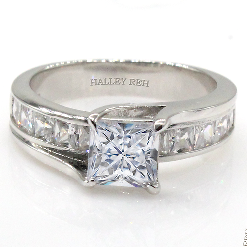 Princess Cut Moissanite Engagement Ring with Channel Set Accent Stones Sample