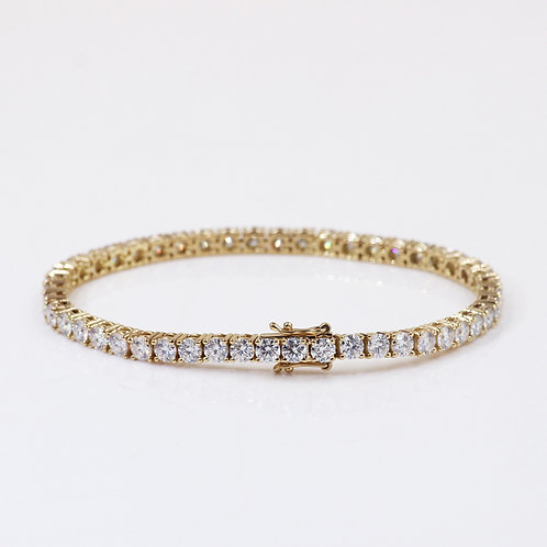 25 carat Halley Reh Round Brilliant Tennis Bracelet set in 14k Yellow Gold