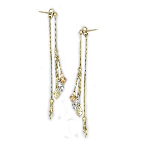 Three-colors Solid Italian 14k Gold Drop Earrings