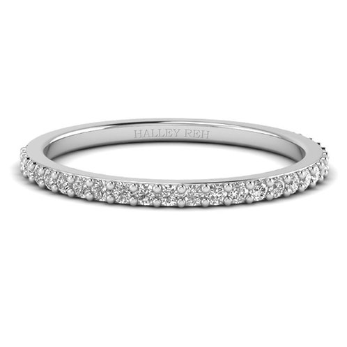 .58 carat Stackable Thin Eternity Wedding Band in 14k White Gold