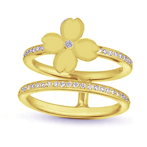 Gienah Mirror Finish Single Flora with Double Band Moissanite Statement Ring