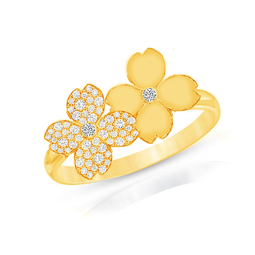 Gienah Twin Bloom Single Band Moissanite Statement Ring