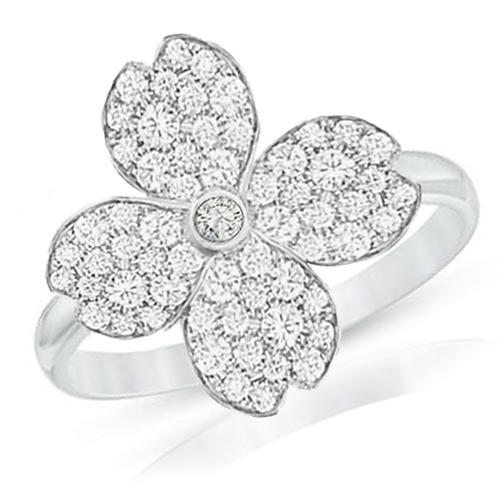 Gienah Studded Single Bloom with Thin Band Statement Ring