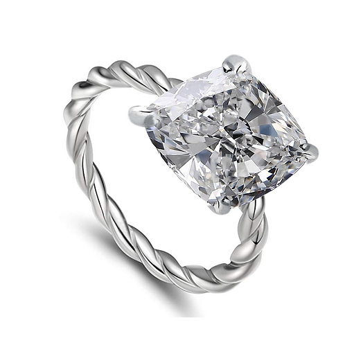 3.02ct  Square Cushion Cut Moissanite Engagement Ring w/ Twisted Rope Band