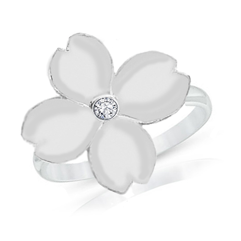 Gienah Single Bloom with Thin Band Moissanite Statement Ring