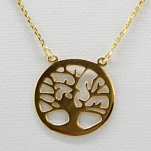 14kt Solid Yellow Gold Mulberry Tree Pendant and Box Chain Necklace