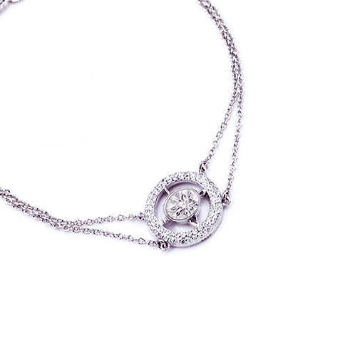 1.25ct DEW LOVE Compass Chain and Link Bracelet set in .925 Sterling Silver
