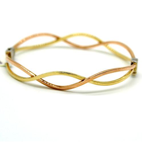 14k Solid Italian Bi-color Yellow and Rose Gold Bangle Bracelet