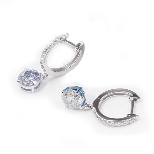 2.25ct DEW Moissanite Huggie Drop Earrings Set in .925 Solid Sterling Silver