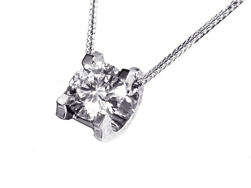 C-prong Solitaire Floating Necklace