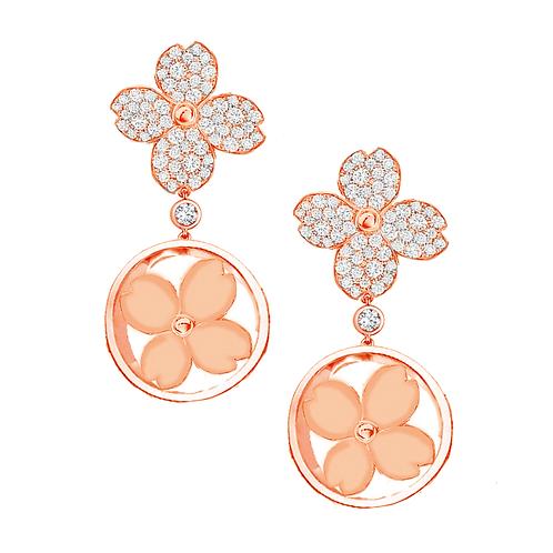 Gienah Framed Single Bloom Dangle Moissanite  Earring